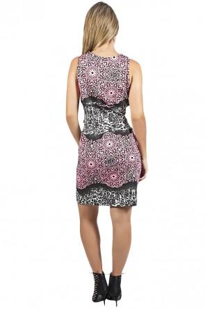 Vestido Estampado com Detalhe em V | Ref: F954