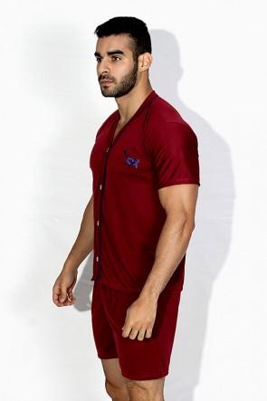 Pijama Mas. de Botão 168 (Vinho)