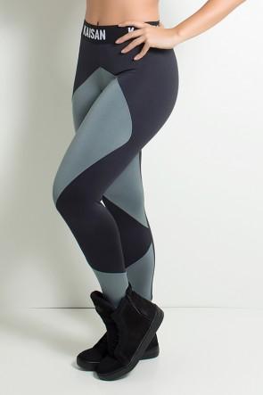 Calça Duas Cores com Cós de Elástico (Preto / Cinza) | Ref: F1805-001