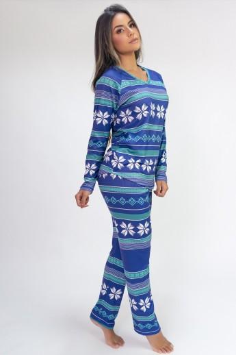 Pijama de Manga Longa Raglan Estampa Digital (Purple Flake)   Ref: K2802