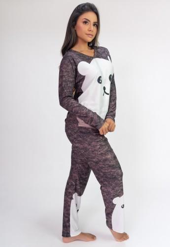 Pijama de Manga Longa Raglan Estampa Digital (Fur) | Ref: K2806