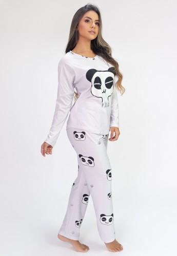 Pijama de Manga Longa Raglan Estampa Digital (Panda) | Ref: K2808