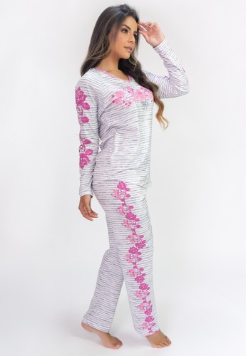 Pijama de Manga Longa Raglan Estampa Digital (Roses) | Ref: K2809