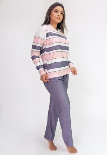 Pijama de Manga Longa com Capuz e Calça Estampa Digital (Classic) | Ref: K2812