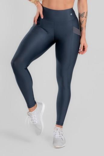 Calça Legging com Bolso e Detalhe em Elástico (Chumbo) | Ref: K2946-B