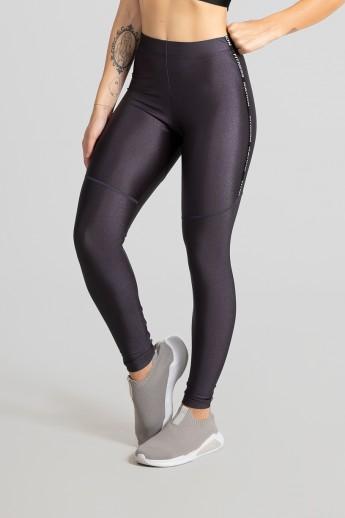 Calça Legging Tecido Platinado com Chapado (Chumbo) | Ref: GO468-C