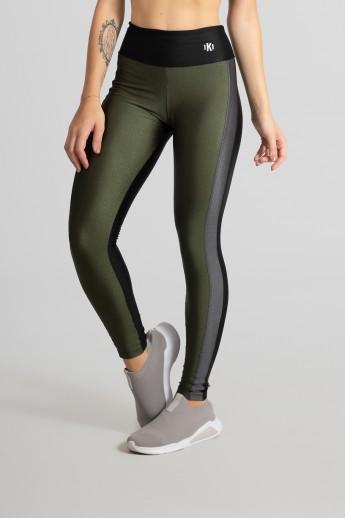 Calça Legging com Faixa Frontal (Preto / Verde Militar / Cinza) | Ref: GO464-B