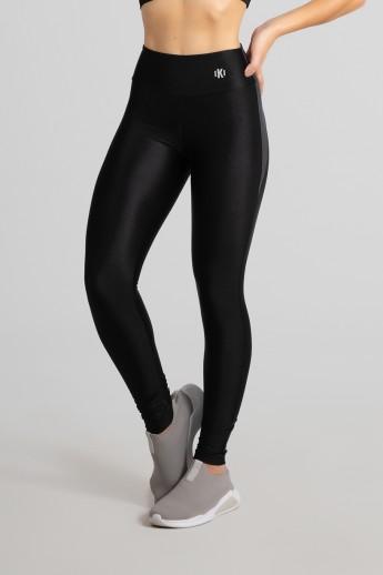 Calça Legging Tecido Platinado com Recorte Meia Lua (Preto / Cinza) | Ref: GO462-B