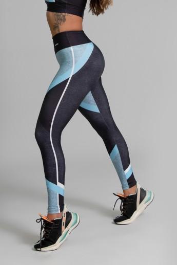 Calça Legging Fitness Estampa Digital Linear Blue | Ref: GO354