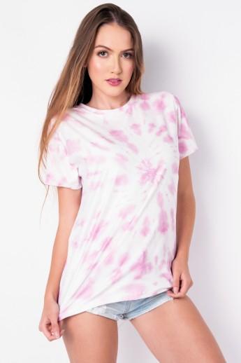 Camisetão Estampa Digital Tie Dye (Rosa / Branco) | Ref: K2696-E