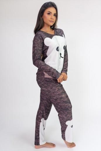 Pijama de Manga Longa Raglan Estampa Digital (Fur)   Ref: K2806