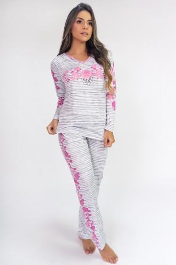 Pijama de Manga Longa Raglan Estampa Digital (Roses)   Ref: K2809