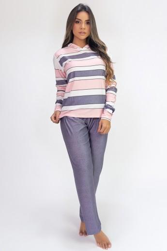 Pijama de Manga Longa com Capuz e Calça Estampa Digital (Classic)   Ref: K2812