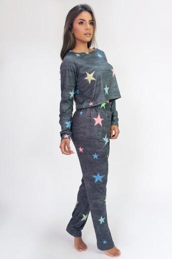 Pijama Cropped de Manga Longa e Calça Estampa Digital (Stars)   Ref: K2814