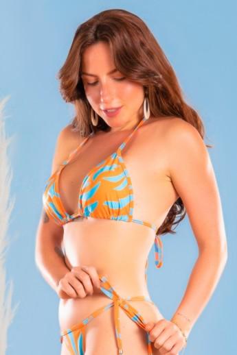 Top Biquíni Cortininha Básico Estampa Digital (Orange Blast) | Ref: K3043-A