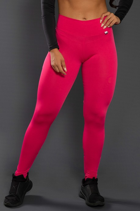 Calça Legging Lisa com Fecho na Perna (Rosa Pink)   Ref: F157-005