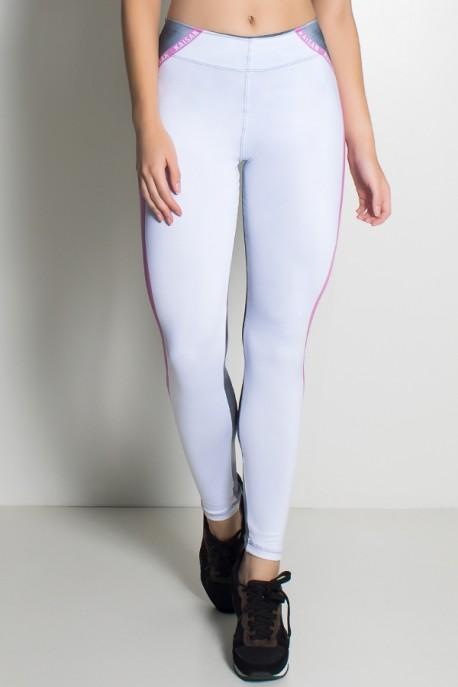 Legging Branco Rosa e Névoa Sublimada   Ref: F1946-001