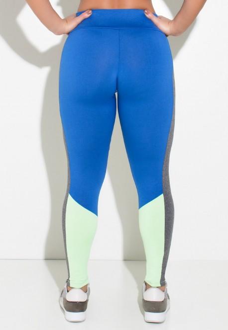 Calça Duas Cores com Detalhe Mescla na Lateral (Azul Royal / Verde Claro / Mescla) | Ref:F2127-001