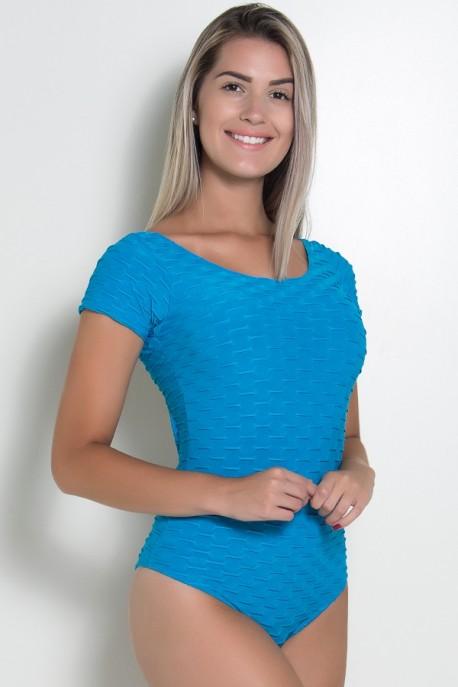 Body Costas Aberta Tecido Bolha (Azul celeste) | Ref: F268-002