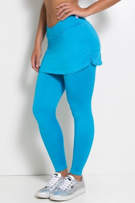Calça Legging Lisa com Saia Franzida (Azul Celeste) | Ref: F315-005