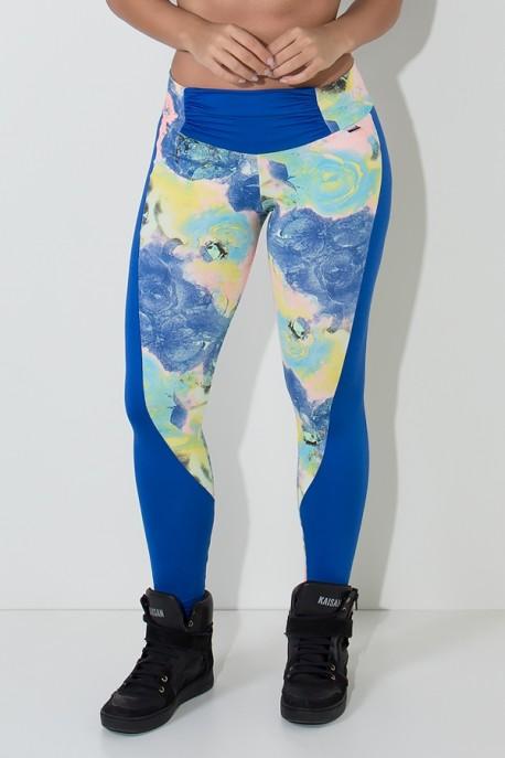 Calça Hilary Estampada com Detalhe Liso (Rosas Azul Salmão e Verde Água / Azul Royal) | Ref: F668-001