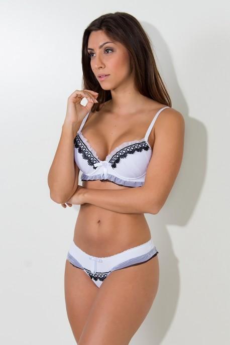 Conjunto Dara 2381 (Branco com Preto) | Ref: KS-B204-005