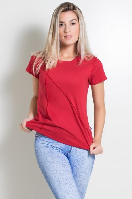 KS-F1034-007_Camiseta_de_Malha_com_Ponto_de_Cobertura_Vermelho__Ref:_KS-F1034-007