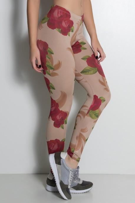 Legging Rosas Vermelhas Estampa Digital   Ref: KS-F1899-001