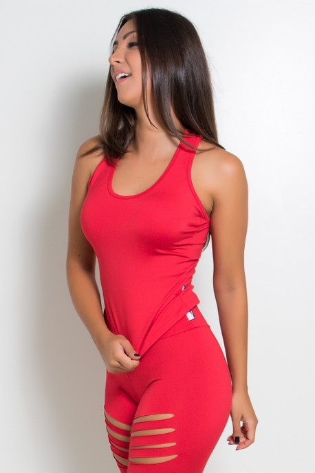Camiseta Lisa com Tiras nas Costas (Vermelho) | Ref: KS-F2038-002