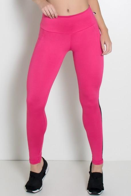 Calça Cós Alto com Detalhe em Tela na Perna (Rosa Pink / Preto) | Ref: KS-F2081-001
