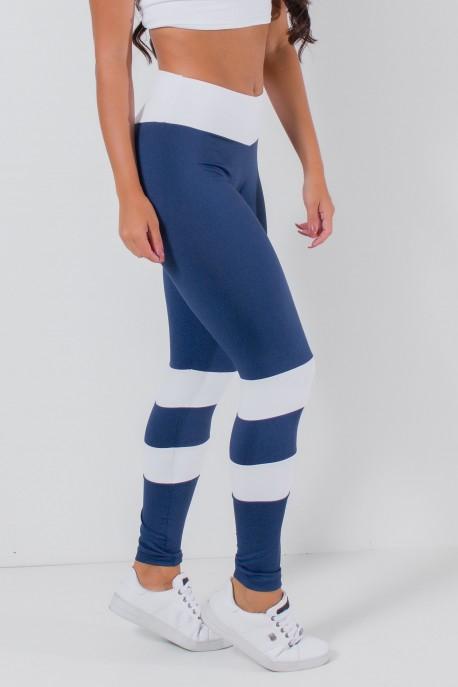 Calça Bumbum na Nuca Duas Cores (Azul Marinho / Branco) | Ref: KS-F2250-001
