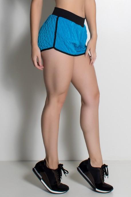 Shortinho Demi Tecido Bolha (Azul Celeste / Preto) | Ref: KS-F453-004