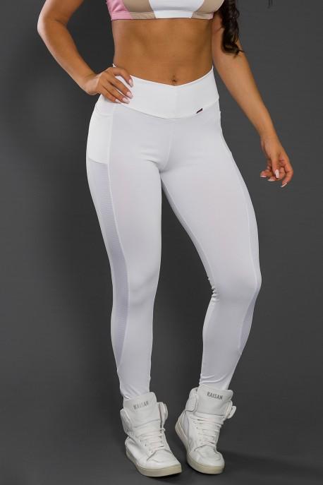 Calça Paula Lisa com Detalhe Dry Fit e Bolso (Branco) | Ref: KS-F584-002