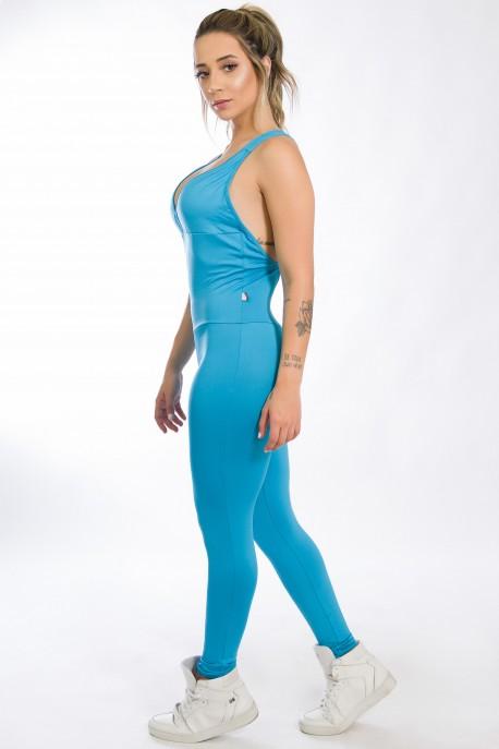Macacão Fitness Bela Azul Celeste   Ref: KS-F87-005