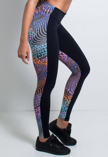 Calça Lisa com Costa Estampada | Poliamida Excelente! | (Preto / Triângulos e Bolinhas Coloridas) | Ref: KS-PL08-001