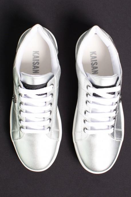 Tênis Mini Sneaker com Cadarço (Prata)   Ref: KS-T42-004