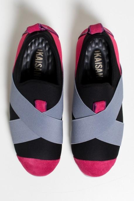 Tênis Violet Jogger (Preto / Rosa Pink / Cinza)   Ref: KS-T63-003