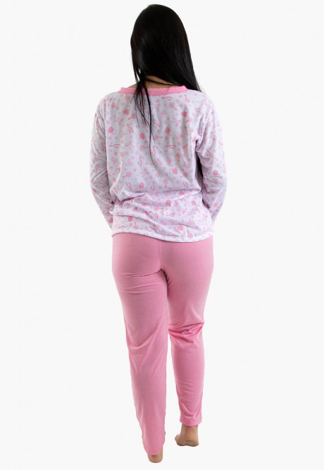 Pijama feminino longo 182 (Rosa) | Ref: CEZ-PA182-014