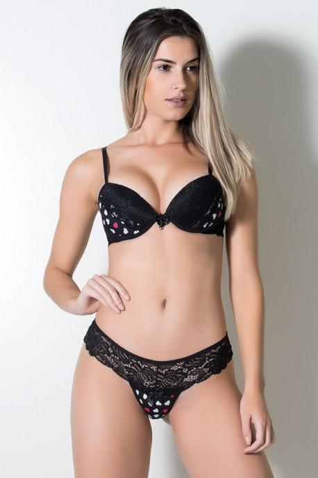 KS-B189-001_Conjunto_Estampado_com_Renda_260_Preto__Coracoes_Branco_e_Rosa__Ref:_KS-B189-001