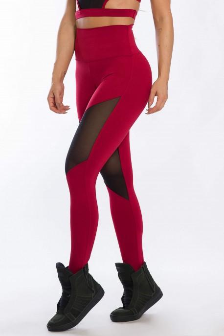 Calça Legging com Detalhe em Tule (Vinho) | Ref: K2428-B