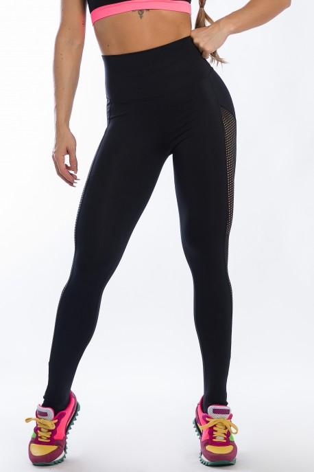 Calça Legging com Detalhe em Tela (Preto) | Ref: K2427-A