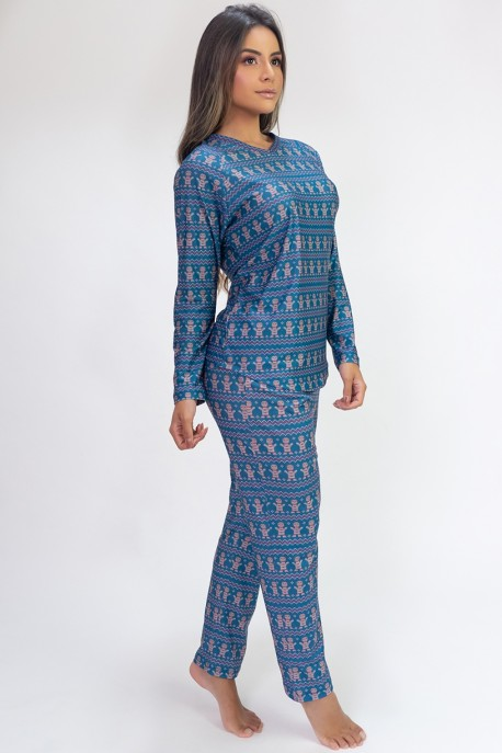 Pijama de Manga Longa Raglan Estampa Digital (Cookie) | Ref: K2804