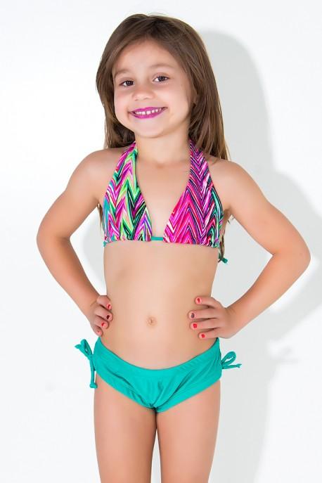 Biquini Cortinão com Calcinha Lisa Infantil (Setas Verde Rosa e Roxa / Verde Esmeralda)   Ref: DVBQ24-002