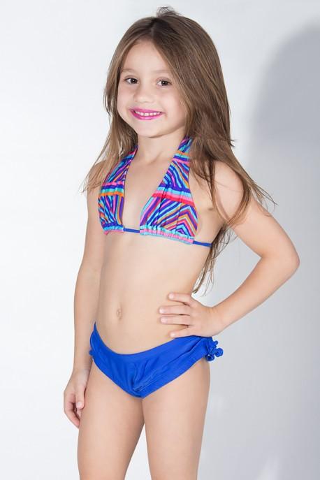 Biquini Cortinão com Calcinha Lisa Infantil (Listrado Colorido / Azul Royal)   Ref: DVBQ24-004