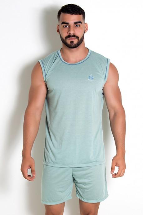 Pijama Masculino Camiseta 072 (Verde claro)   Ref.:CEZ-PA072-002