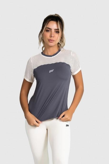 Blusa de Poliamida com Recorte de Tela (Grafite / Off-White) | Ref: GO12-B