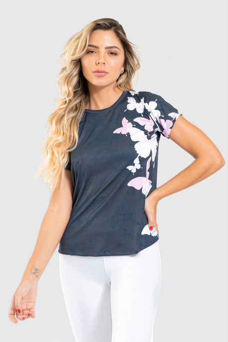 Blusa Fitness Manguinha Estampa Digital Wings of a Butterfly | Ref: GO205