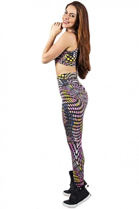 Conjunto Cropped e Legging Estampada Bolhas Coloridas   Ref: KS-F816-024