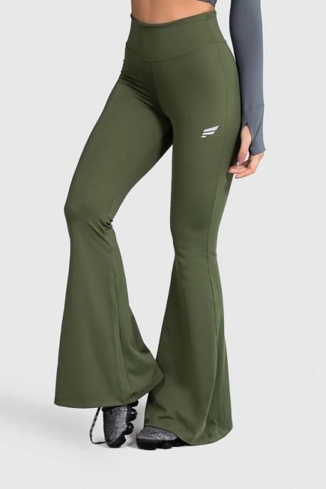 Calça Flare de Poliamida Básica (Verde Militar) | Ref: GO4-I