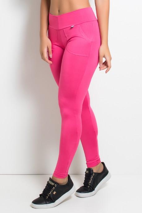 Calça Legging Lisa com Bolso (Rosa Pink) | Ref: F146-002